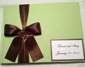 Wedding Guest book Polaroid/ FujiFilm Instax MINI book for 50 Photos- over 50 fabrics, 10 Satin Ribbon Colors, Customized Monogram Card