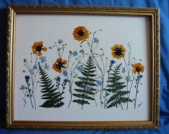 SALE: Field of Gold and Green, real flowers and ferns 11x14 Original