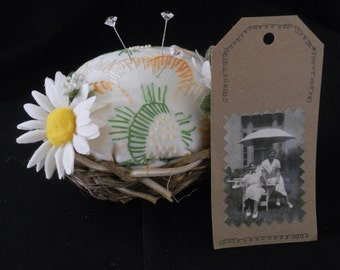 Vintage linen pincushio, Vintge embellished pincushion, Birds nest pincushion