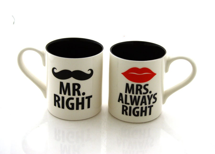 mr and mrs mug set mustache and lips mugs mr right and mrs. Black Bedroom Furniture Sets. Home Design Ideas