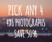 Save 50%, BOGO 4x6 Print Set, Pick Your Photos, Instant Collection Photography Set of 4 Fine Art Photographs, room decoration Wall art