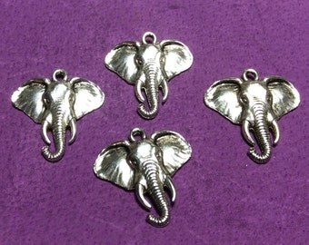 Elephant Face Pewter Charms