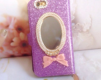 Glitter front and back cover, with back mirror and  card holder space, made in US