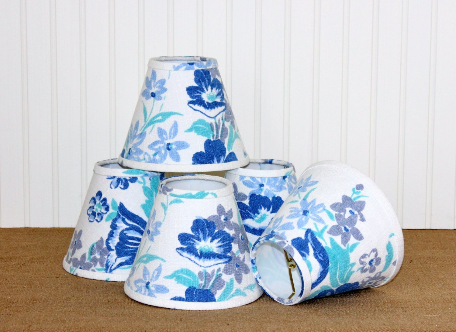 Chandelier Lamp Shade Lampshade Sconce Vintage Blue Floral