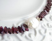 Freshwater Coin Pearl Faceted Polished Red Garnet Sterling Silver