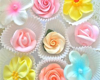 Spring gum paste flowers-sugar flowers-edibe sugar flowers-cupcake decorations-Easter sugar decorations-royal icing flowers