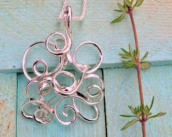 Modern sterling silver wire abstract necklace, wire jewelry, wire wrapped jewelry handmade, geometric, unique, contemporary, unusual, 3d