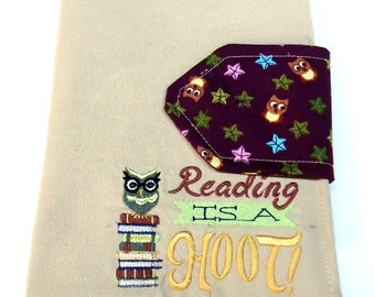 E-reader cover. Nook Cover. Kindle Cover. Owl Embroidery. Handmade. One of a Kind.