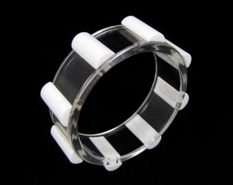 Mod 1960s Bracelet - Clear Lucite Bangle with Applied White Bumps, Sculptural Bracelet, Pop Art, Modernist Jewelry, Runway Piece