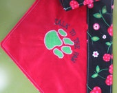 Double Sided Collar Style Dog Bandana Embroidery Cherry Talk To The Paw
