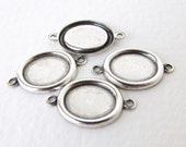 Cameo Setting Antiqued Silver Ox Frame Connector Bezel Vintage Style 10x8mm set0322 (6)