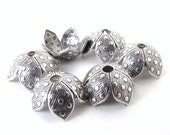 Antiqued Silver Ox Dot Bead Cap Vintage Style Dotted Flower 8mm bcp0039 (6)