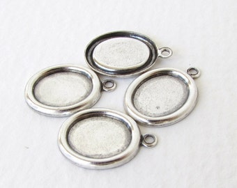 Cameo Setting Antiqued Silver Ox Frame Cabochon Bezel Vintage Style 10x8mm set0314 (6)