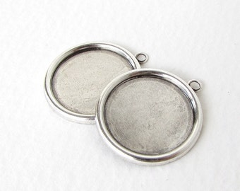 Antiqued Silver Ox Frame Setting Round Cabochon Bezel 18mm set0325 (4)