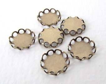 Antiqued Brass Ox Settings. Lace Edge Filigree for 9mm Cabochons set0099 (6)