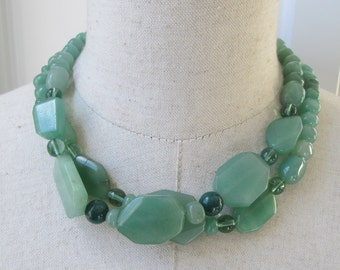 Sage Green Double Strand Beaded Chunky Necklace Choker