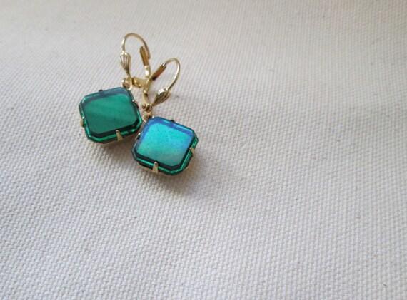 Emerald Earrings For Sale Vintage Emerald Glass Drop Dangle Earrings