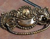 Set of 6 Antiqued Stamped Fancy Brass Drawer Handles