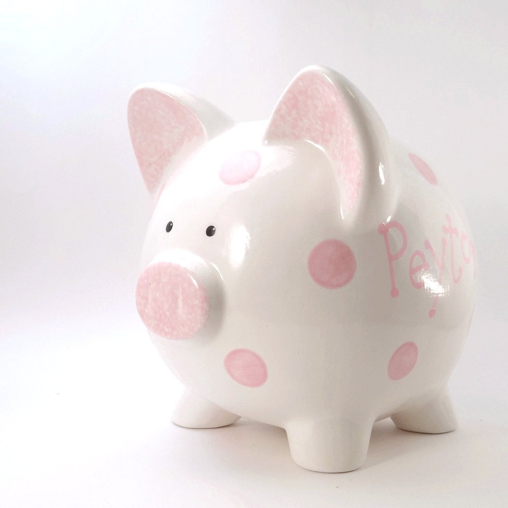 polka dot piggy bank personalized piggy bank ceramic piggy