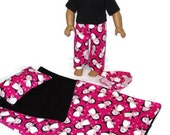 Hot Pink Penguin Print Sleeping Bag n Pajamas 18 inch doll clothes fits American girl doll Item 310