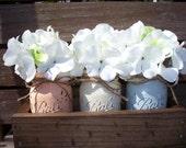 Rustic planter box with 3 painted mason jars. Painted Mason Jars. Vase. Table centerpiece. Wedding decor.