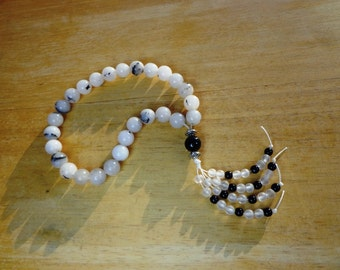 Mala Prayer Beads 27 Tourmalinated Quartz Gemstones with Beaded Tassel