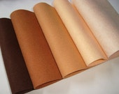Wool blend Felt by the sheet  6 x 9  sheets The brownish set  5 sheets