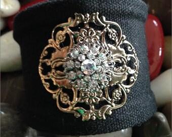 Fabric Cuff Bracelet, Black Fabric Cuff Bracelet, Rhinestone Cuff Bracelet, Vintage Style Cuff Bracelet, Rhinestone Bracelet, Black Bracelet