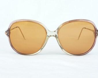 Vintage Eyeglasses, orange frames, plastic frames, orange lenses, vintage eyewear, large lenses, vintage accessory, womens accessories,retro