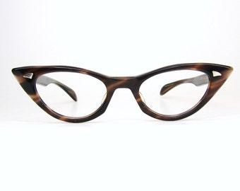 Vintage Brown Satin 50s cat Eye Glasses