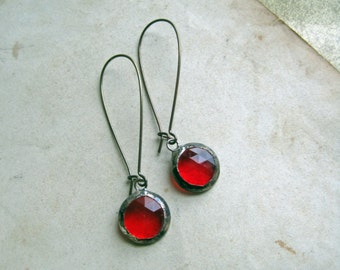 Stained Glass Red Faceted Earrings Long Arched Earwires January Birthday