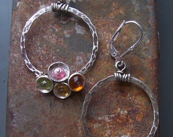 Sterling silver gemstone hoop earrings Tiny Bubbles Collection Multi-colored gemstone earrings Natural stone earrings Small hoop earrings