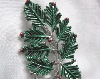 Vintage Gerrys evergreen branch holiday pin brooch