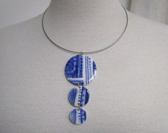 Unique Hand crafted Delft Blue pedant necklace - Original Dutch Handpainted porcelain jewelry - Holland - Blue and white-  The Netherlands