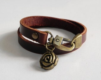 Leather Charm Bracelet Leather Wrap Bracelet Brown Color with Metal Bronze Tone Rose Charm