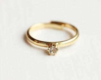 Tiny Crystal Dot Ring