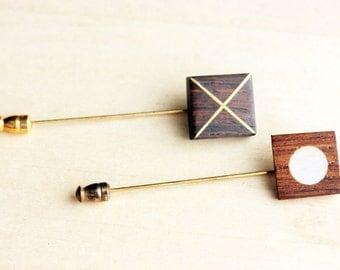 Vintage Wood Stickpin Set