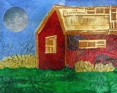 Original Art - Canvas Art - 4 x 5  - Mixed Media Collage - The Barn