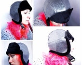 Sparkle Vinyl Aviator Cap, Flight Hat, Earflap Hat, Helmet Cap, Burning Man, Made to Order