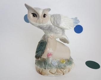 Vintage Porcelain Owl Figurine - Owl Perched on Flower Pot Figurine - Made in Japan by ArtMark