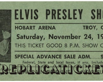 Five 1956-77  Elvis Presley unused paper replica concert tickets Collect, Scrapbook,made in the USA