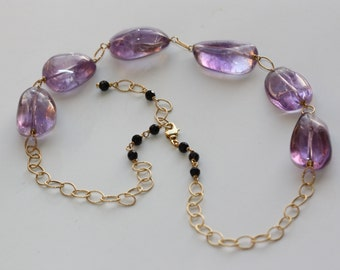 Amethyst Gold Necklace, Natural Amethyst, Choker, Birthday Gift for Wife, for Sister, for Mom, for Auntie, Fall Fashion, Shop for Gifts