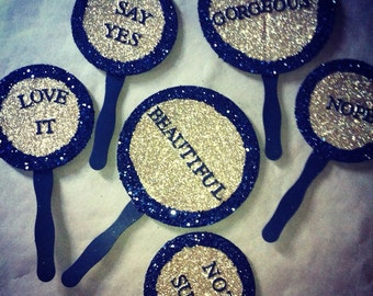 Wedding dress shopping paddles so you can say yes to the dress! Bridesmaids flower girls groomsmen
