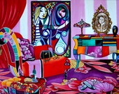 Art Prints Giclee Still Life Interior Whimsical Patchwork Furniture Picasso from Original Painting  Paloma's Boudior by k Madison Moore