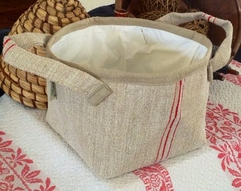 Large Antique Grain Sack Basket with Handles -- red stripes