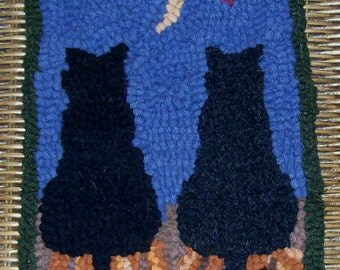 Midnight and Charcoal Cats Primitive Rug Hooking Kit  with Cut Wool Strips