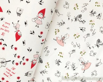 Fairy Tale, Little Red Riding Hood In The Village, Pink Alice Cats In Wonderland, Choose Pattern - Korea Light Canvas Fabric (Fat Quarter)