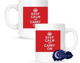 Keep Calm and Carry On, Red 15 oz Coffee Mug