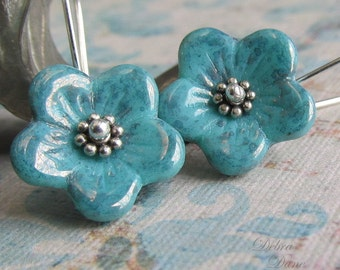 Turquoise Glass Flower Earrings, Sterling Silver, Gift for Mom