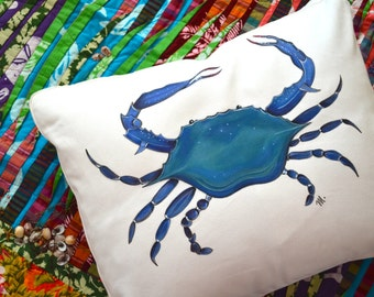 18x23 Custom Hand Painted Down Decorative Accent Annapolis Maryland Chesapeake Blue Crab Canvas Pillow for the Home Personalized Available